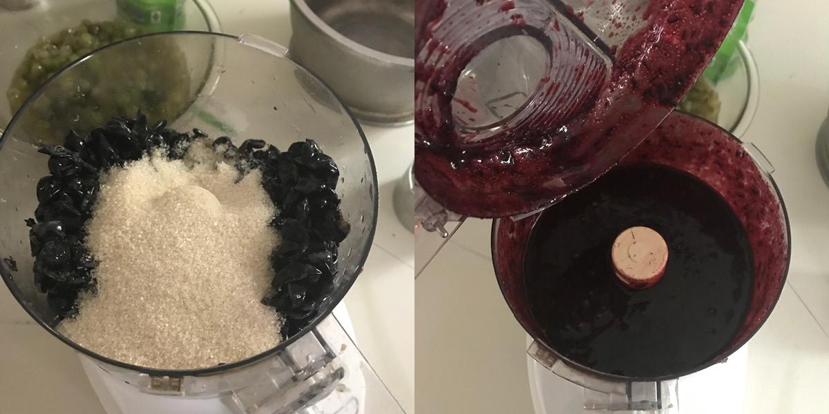 grape jam skins, sugar, process