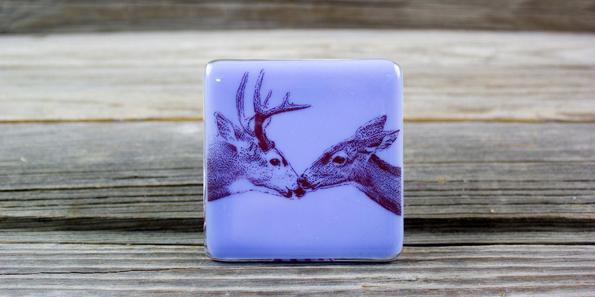deer, doe, kiss, nightlight, purple, glass, square, light