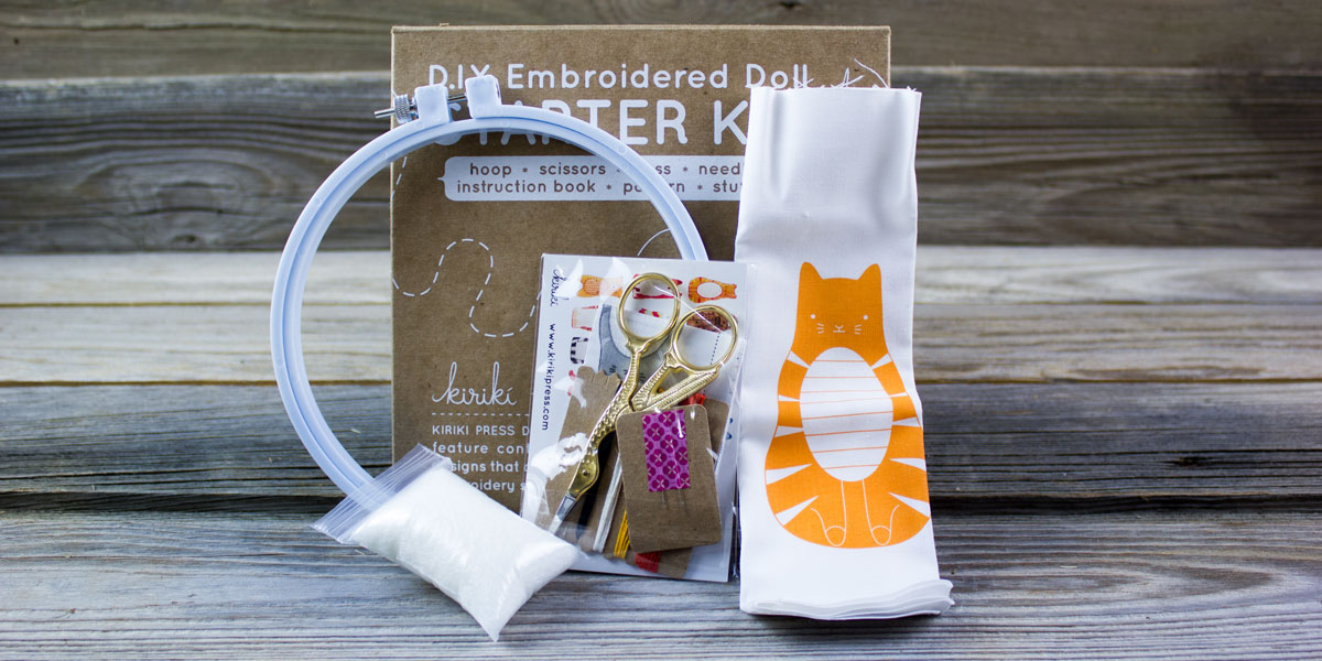 DIY, embroidery, doll, tabby cat, kit, gift