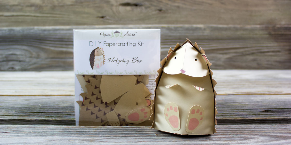hedgehog, box, DIY, papercraft, kit, paper