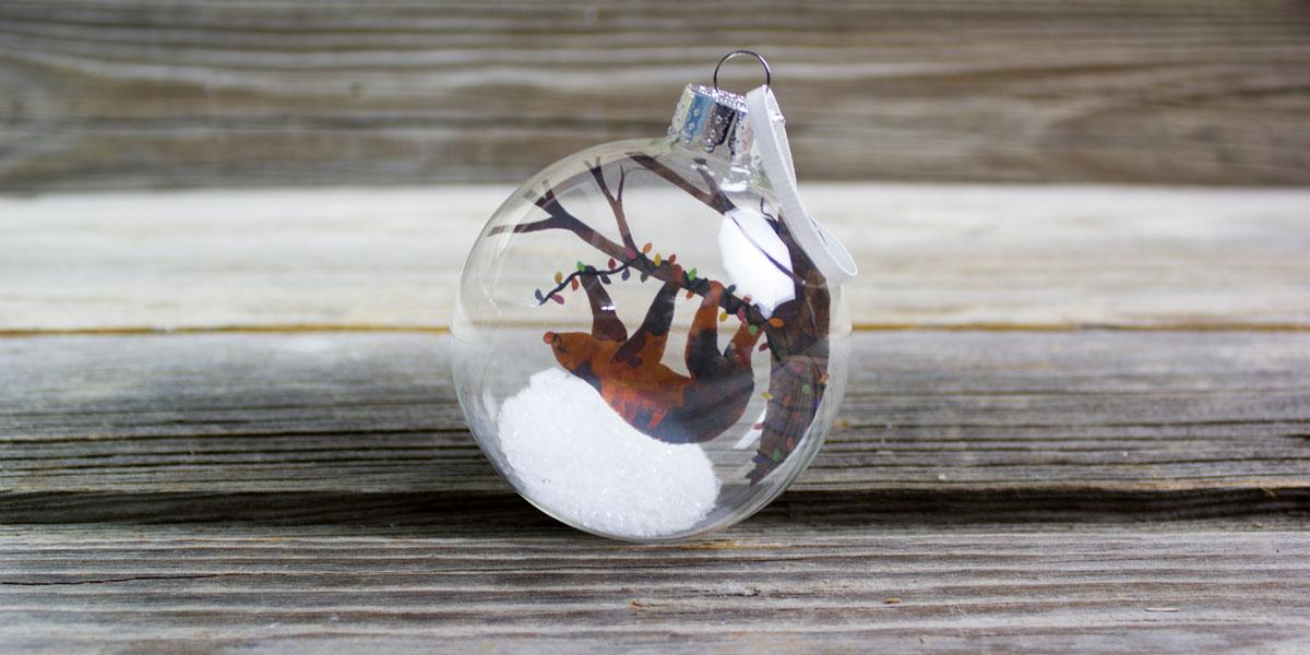sloth, ornament, christmas tree, lights, snow, glass