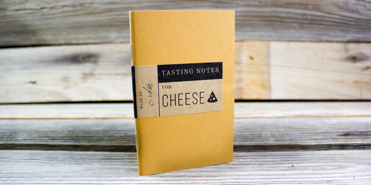 tasting notes, notebook, hand bound, cheese, cheese tasting