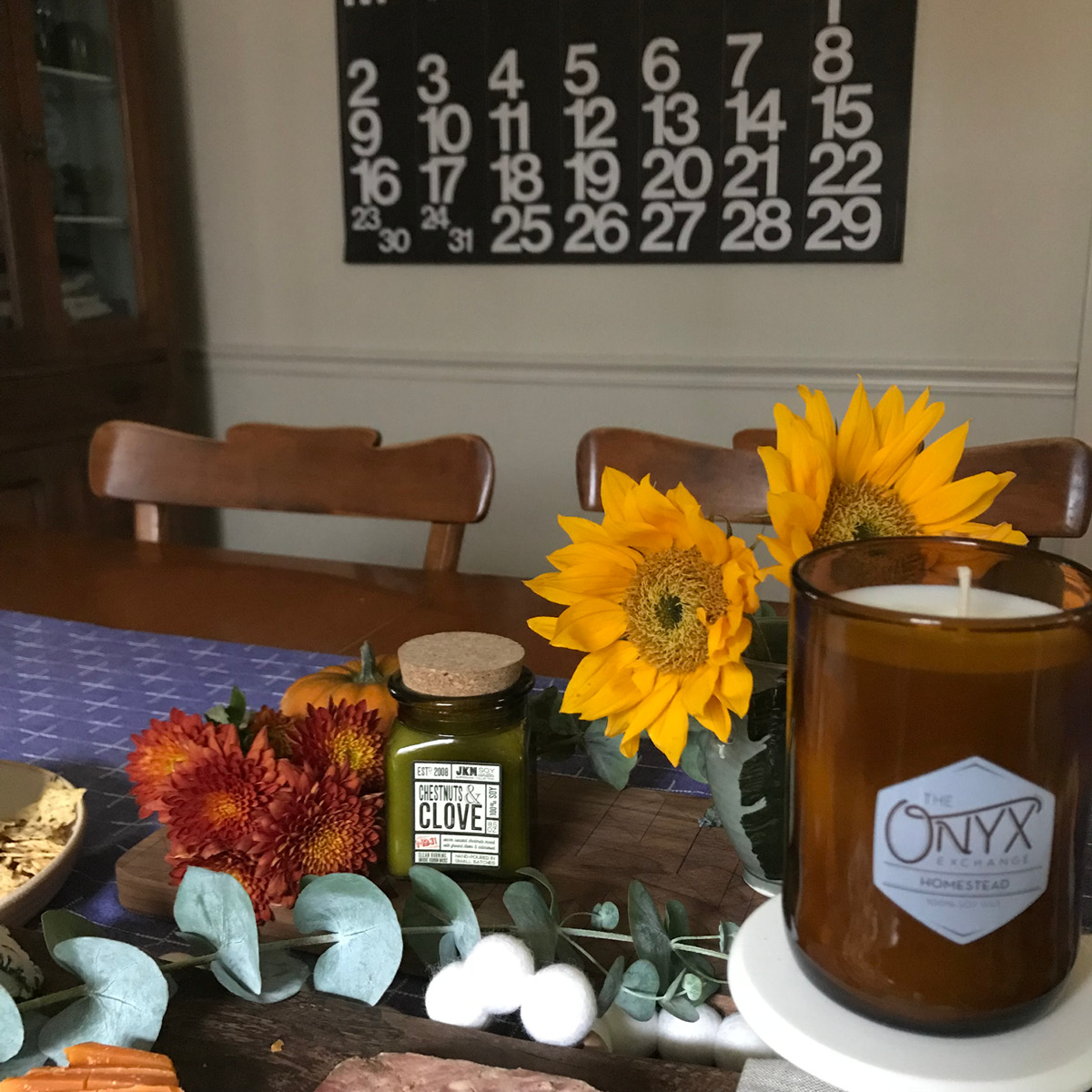 sunflower, candles, display, tablescape