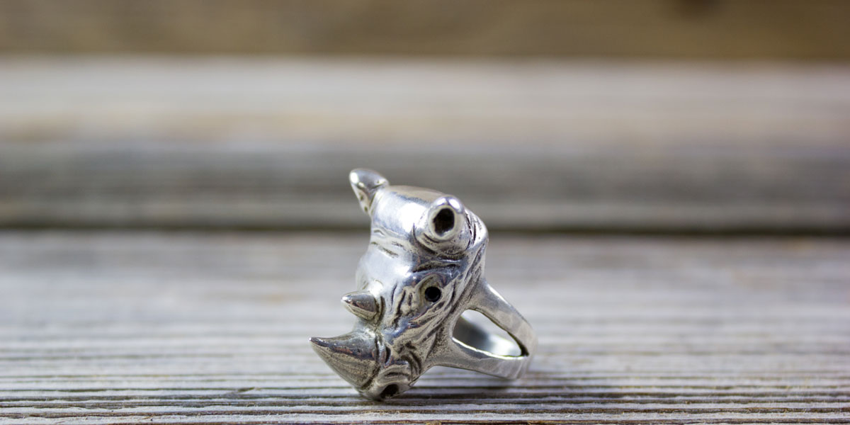 rhinosaurus, silver, ring, handmade, animal