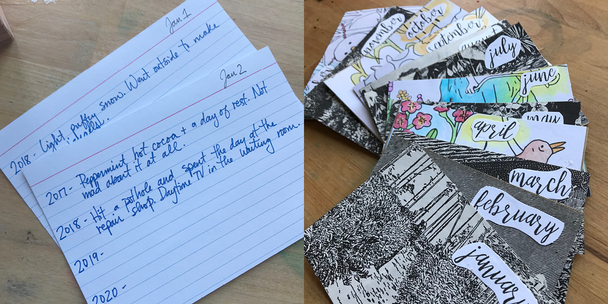 journal pages, notecards, divider cards, pictures