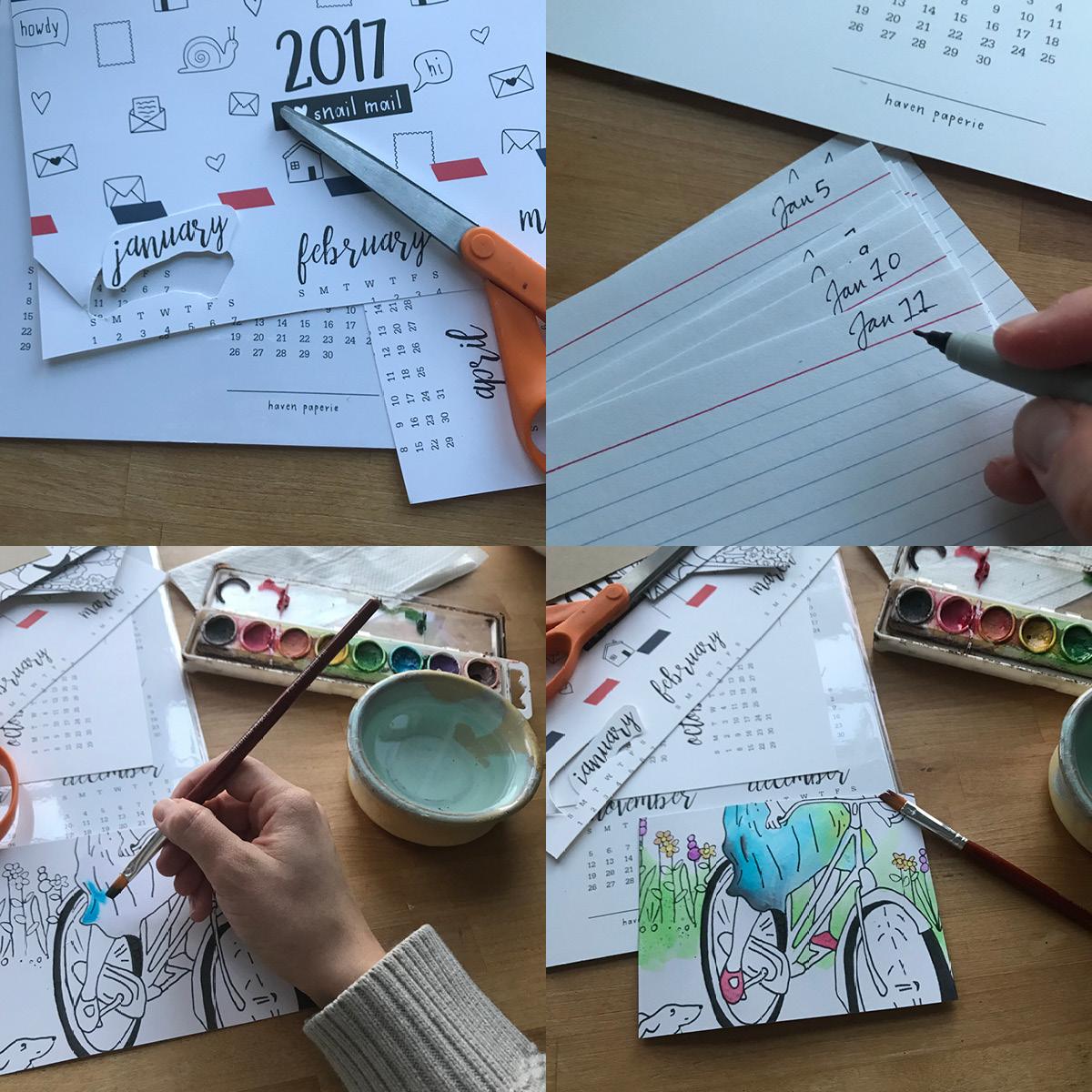 process, cut, paint, notecards, watercolor