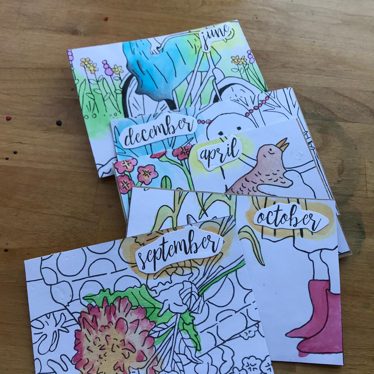 watercolors, flowers, amy rice art, calendar