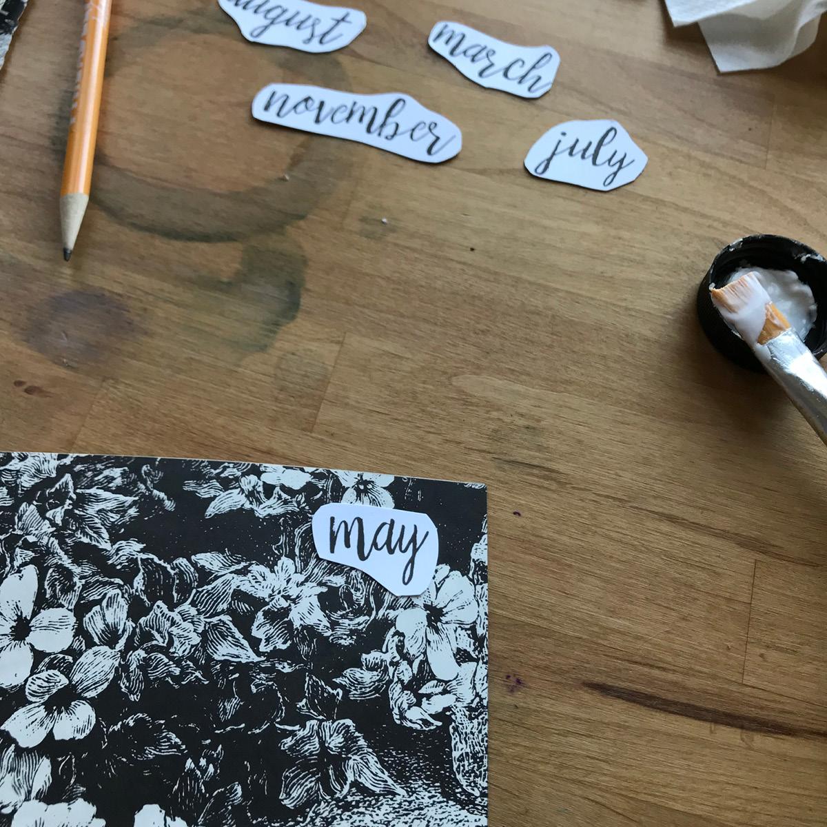 close-up, may, vintage book, pencil, glue