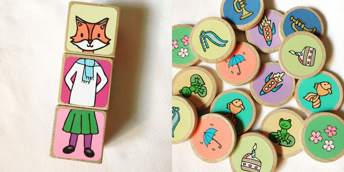 blocks, mix and match, fox, coins, drawings, colorful