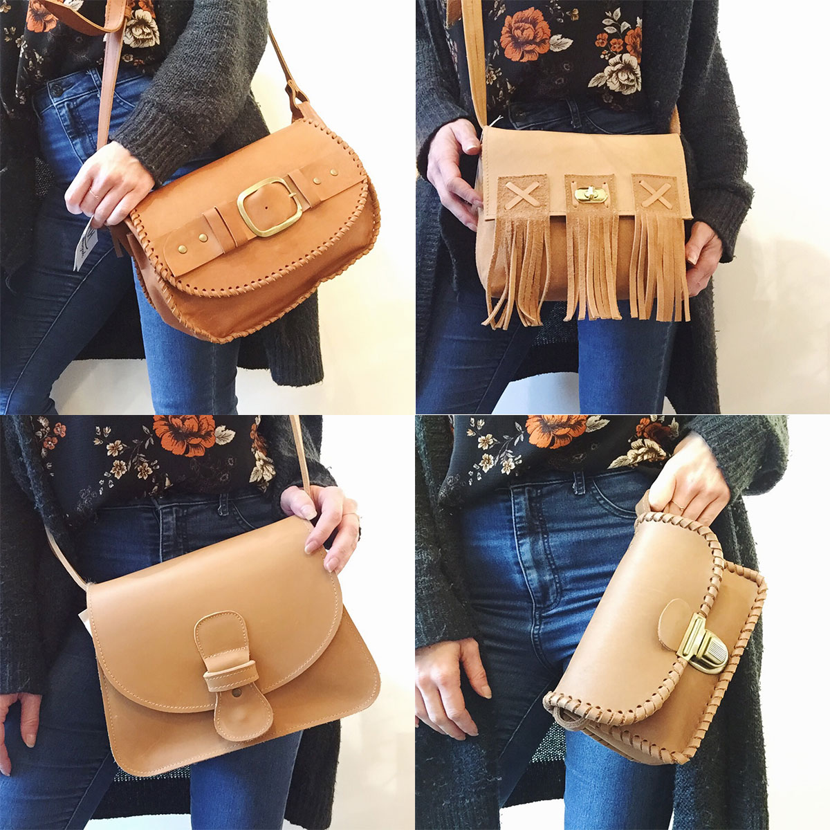 Camel colored leather bags from MH Leathergoods at Homespun: Modern Handmade
