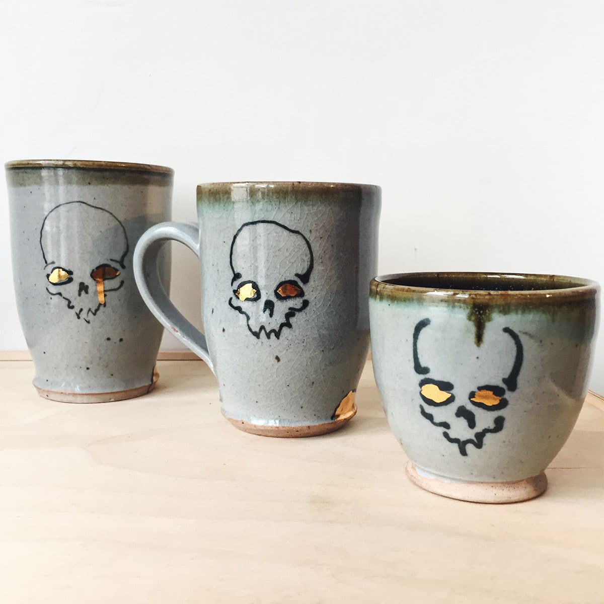 Skull mugs from local ceramicist Corey Jefferson at Homespun: Modern Handmade