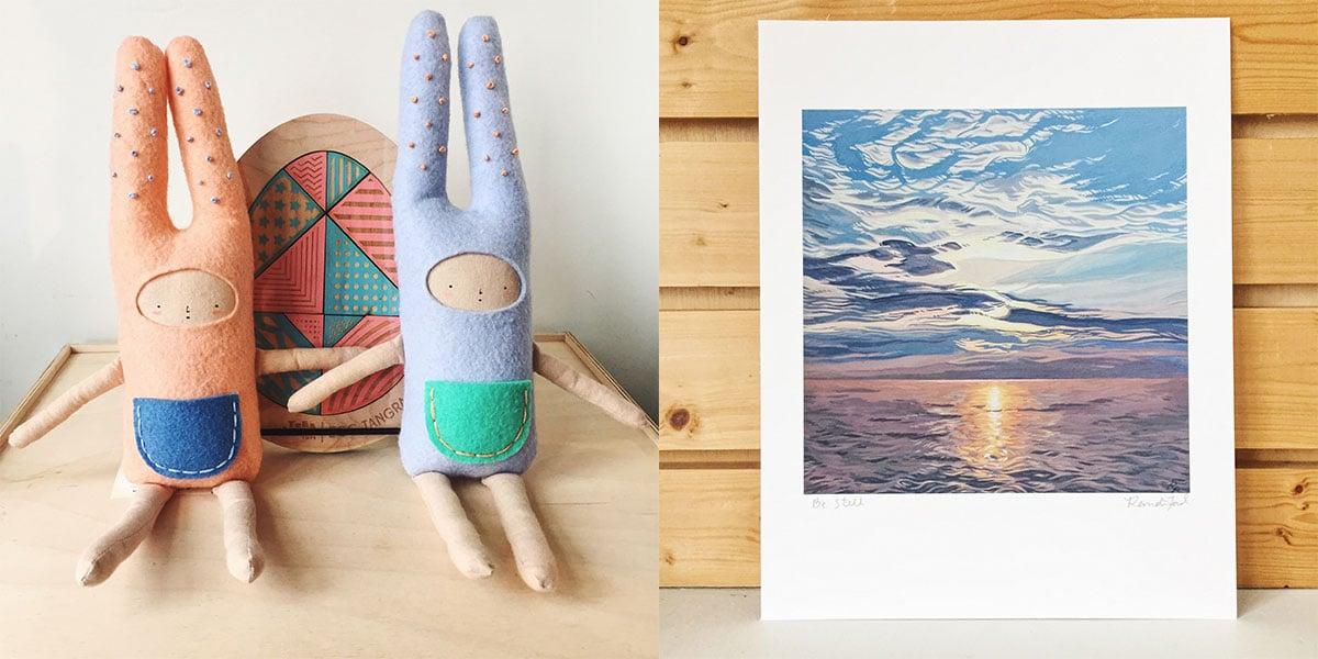 Children's handmade plush bunnies, Easter egg tangram puzzle, and sunset painting at Homespun: Modern Handmade