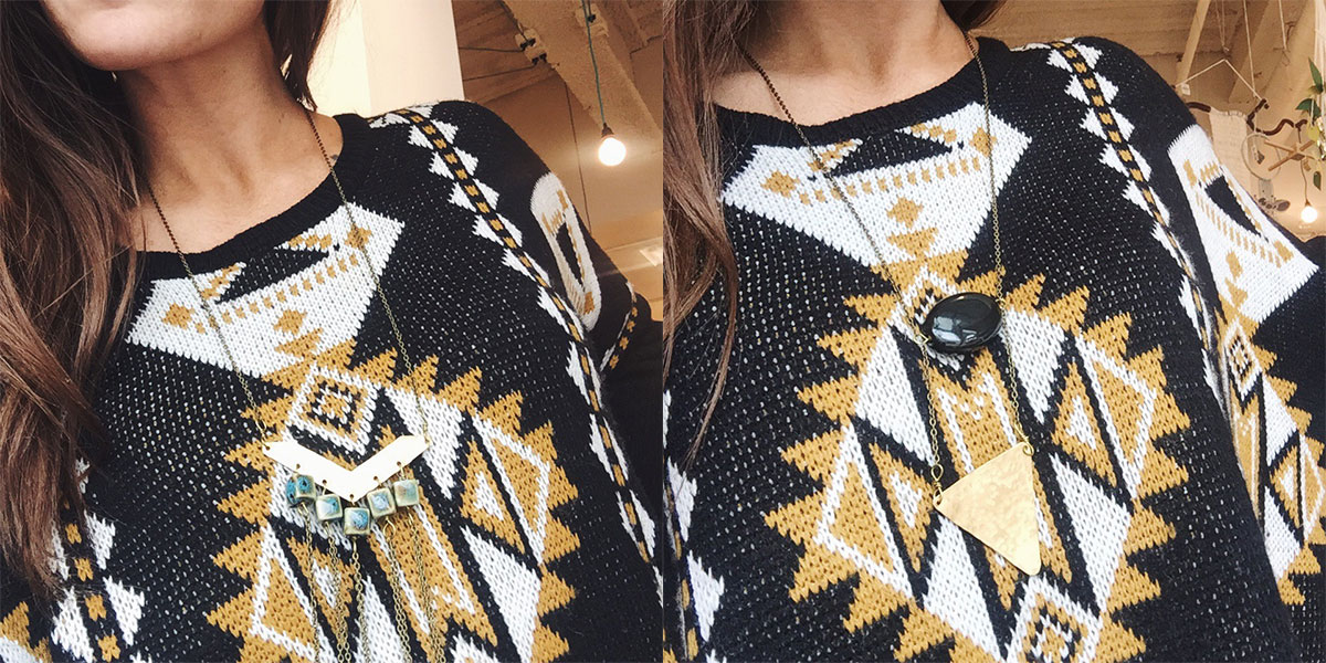 Geometric statement necklaces from Nice Lena at Homespun: Modern Handmade