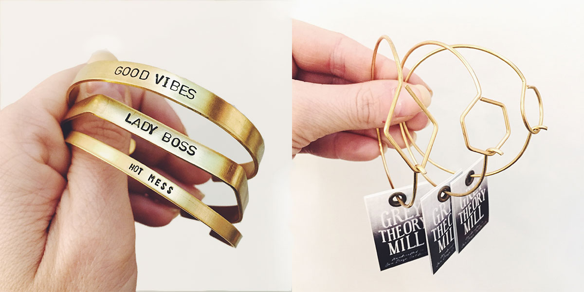 New stamped bracelets and geometric minimal bangles from Grey Theory Mill at Homespun: Modern Handmade
