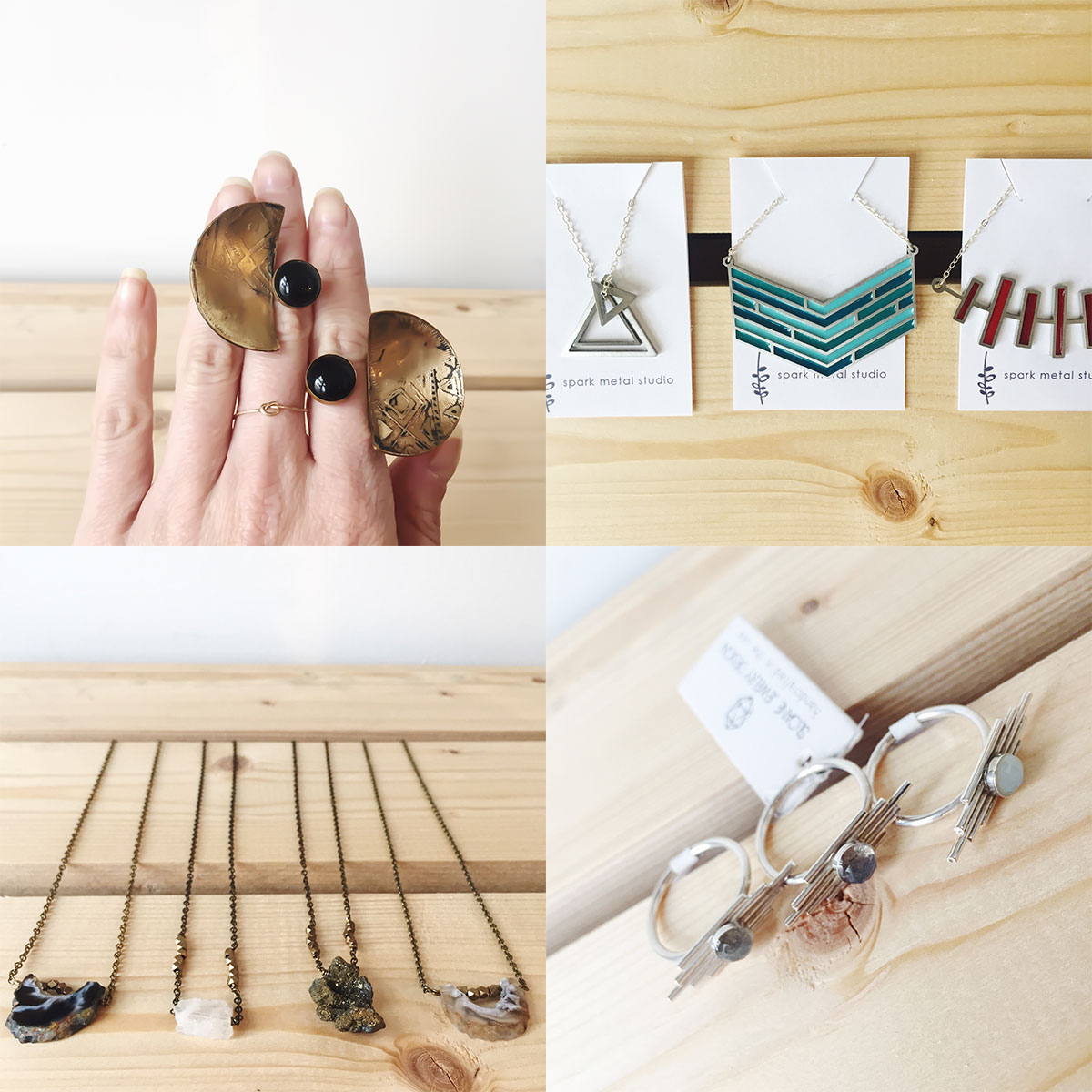 Eclipse rings from Redbud Jewelry, necklaces from Spark Metal Studio, geode necklaces from Grey Theory Mill, and resin rings from Sloane Jewelry Designs at Homespun: Modern Handmade.