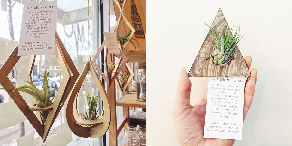 Wooden air plant holders and marbled air plant magnets from Savvie Studio at Homespun: Modern Handmade