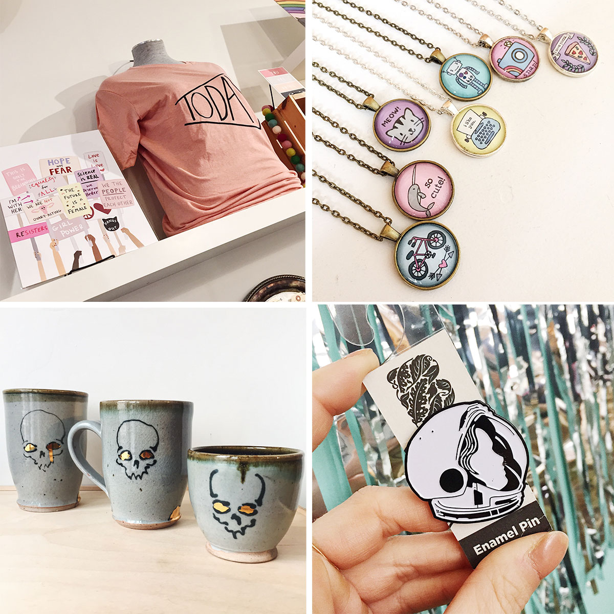ICYMI January 11 t-shirts, prints, necklaces, skull mugs, and pins at Homespun: Modern Handmade