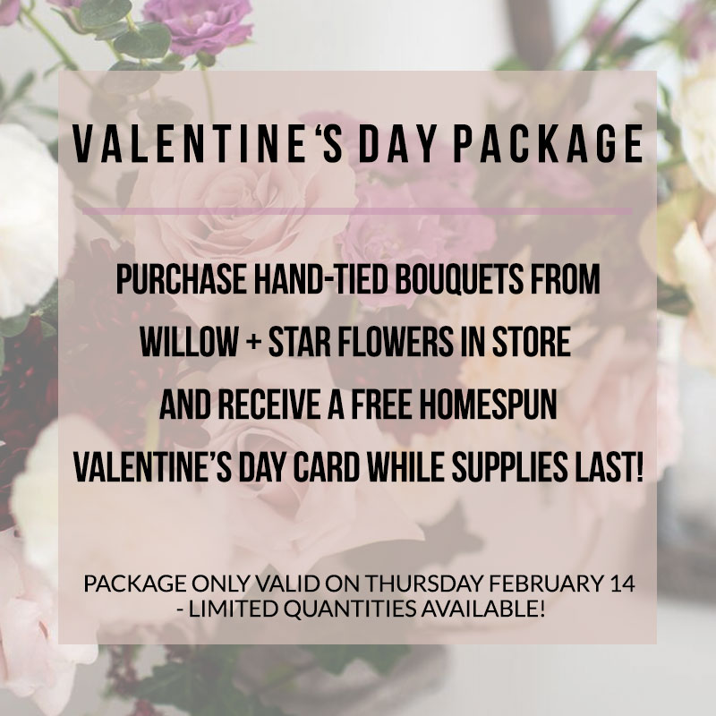 Valentine's Day Last Minute Gifts at Homespun bouquet package