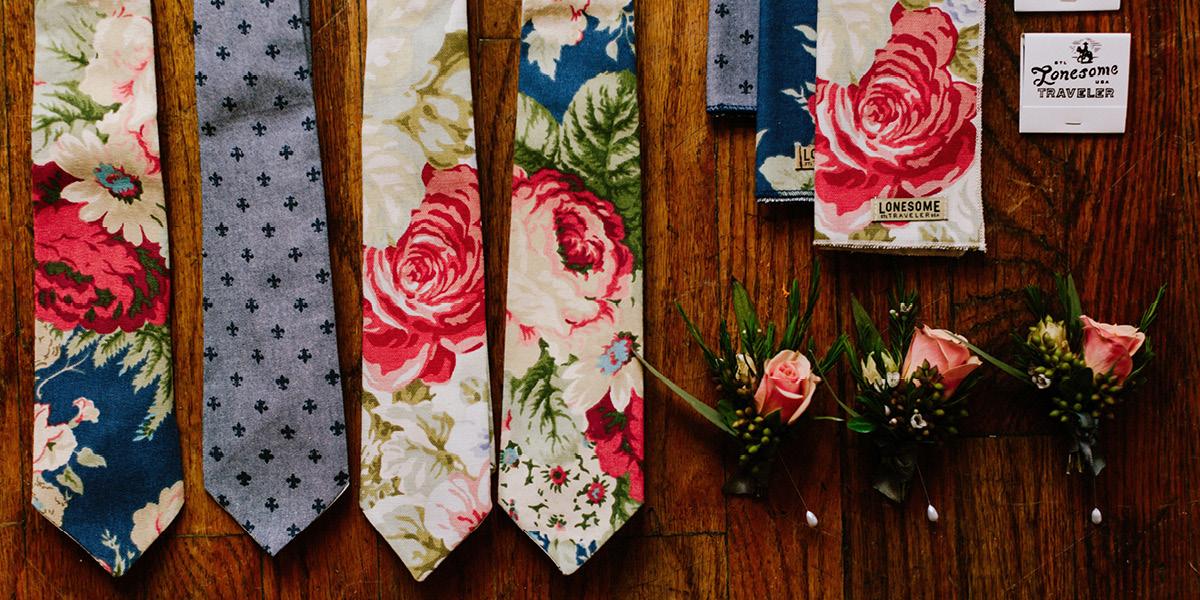 florals, ties, handmade, handkerchief, boutineer