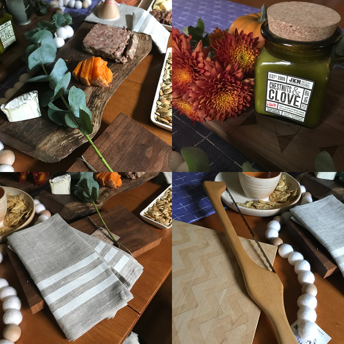wooden charcuterie board, candle, bread knife, linen napkin, pumpkin seeds, chip and dip