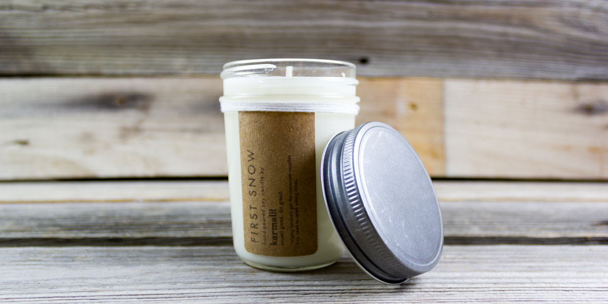 candle, karmalit, first snow, soy, hand poured, jar