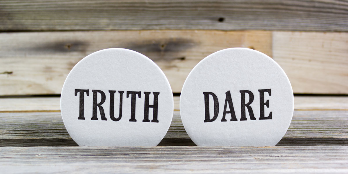 truth or dare, coaster, letterpressed, party game
