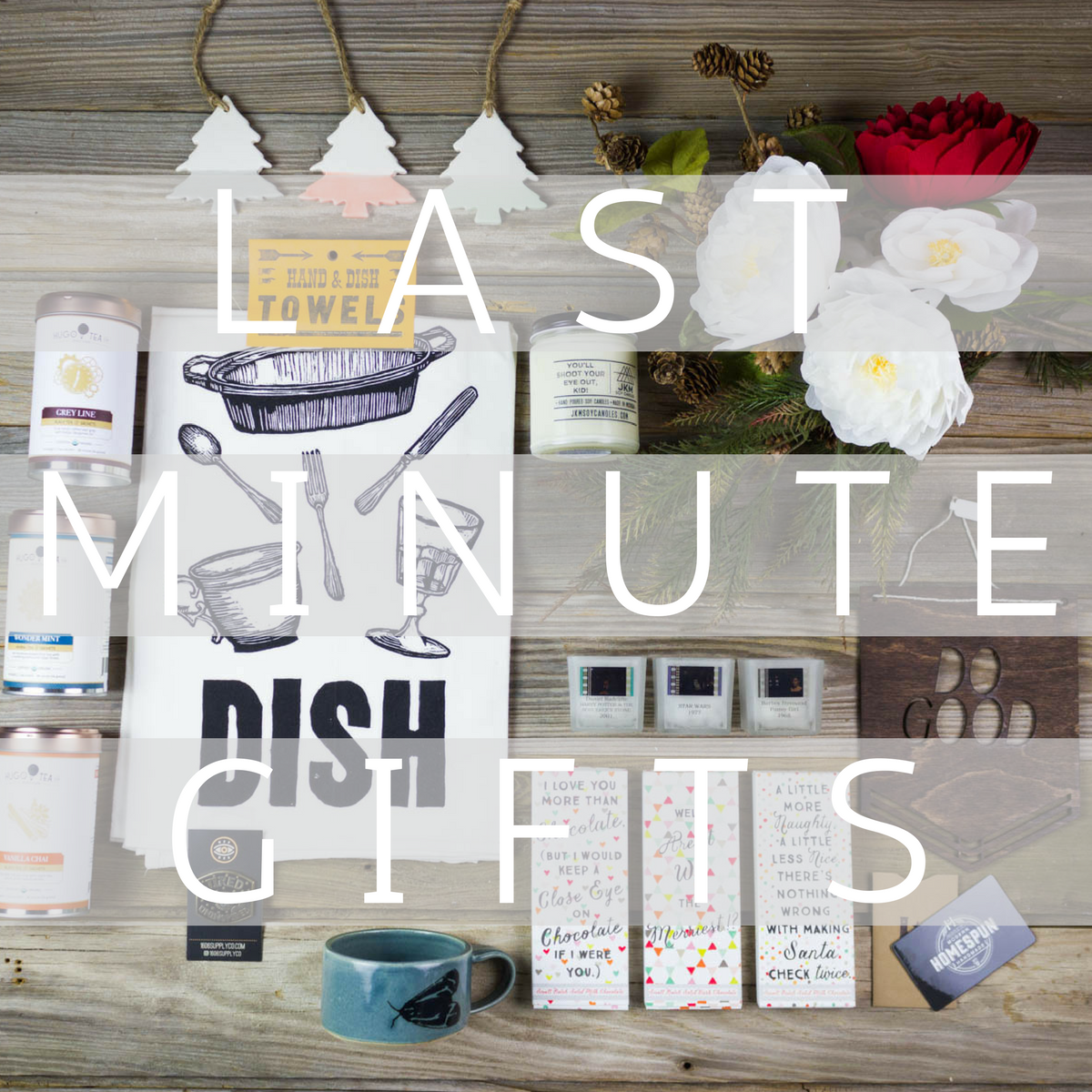 last minute gifts, presents, party, flat lay