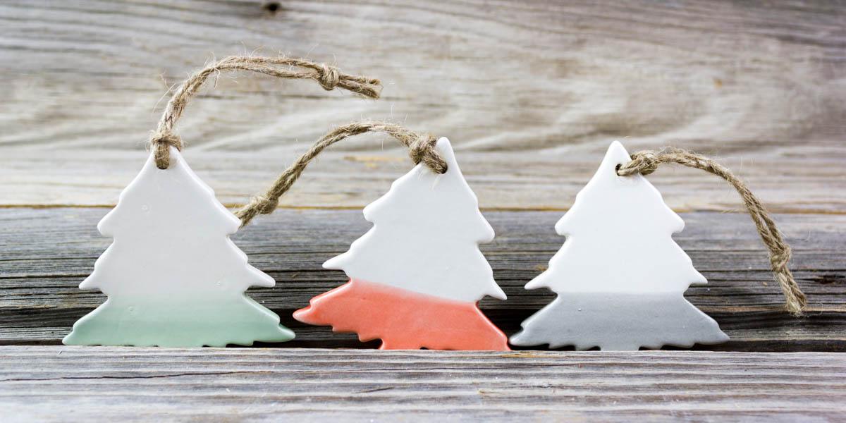 colorful, ceramic, trees, ornaments