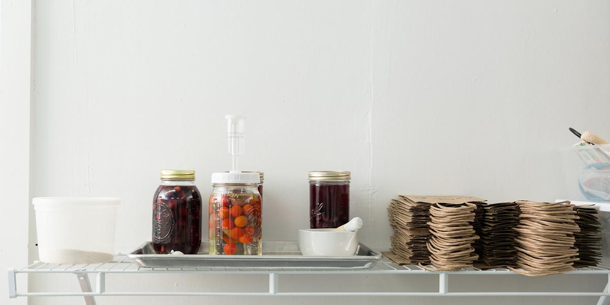 work space, shelf, jars, process, jam making
