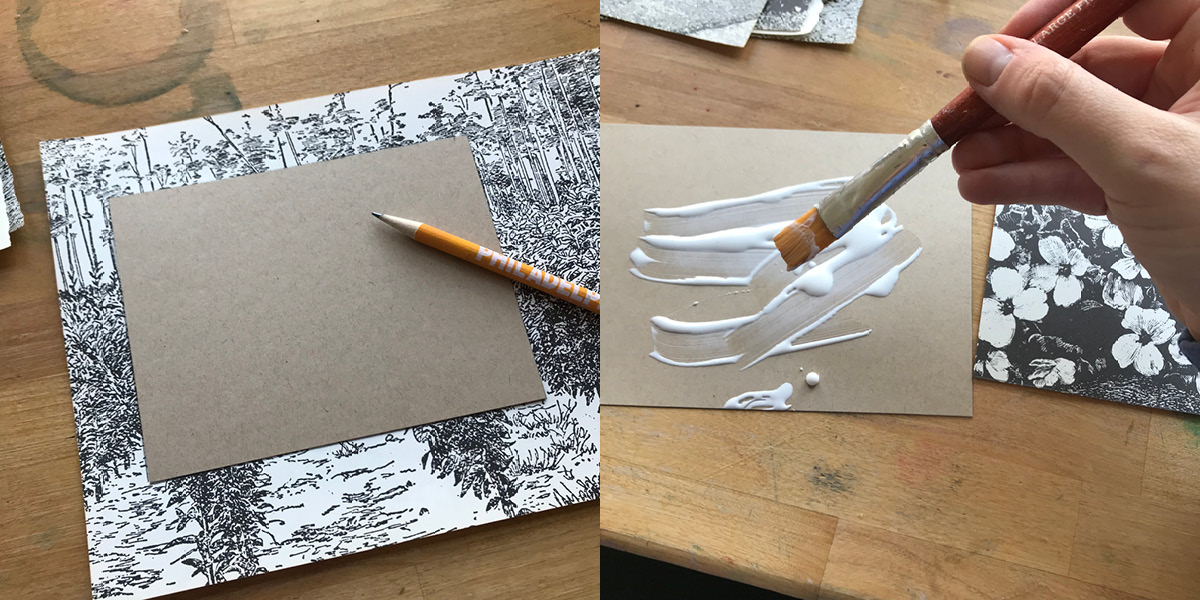 trace, cut, glue, paste, divider card