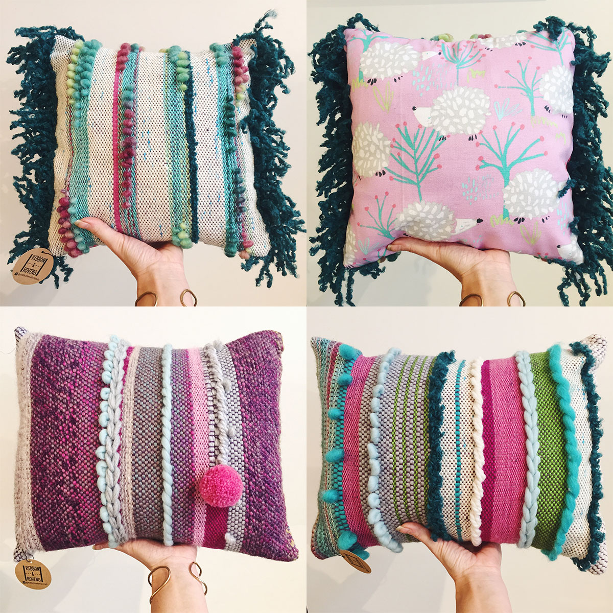 Handwoven pillows from Ribbon + Roving at Homespun: Modern Handmade