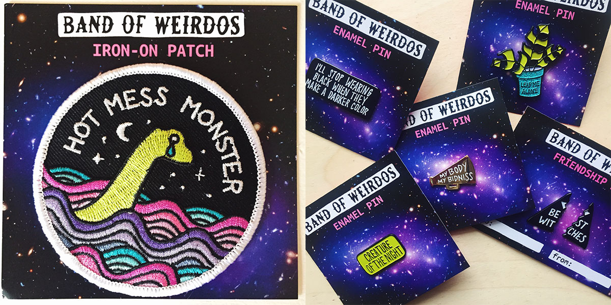 Band of weirdos Iron-on patches and pins available at Homespun: Modern Handmade.
