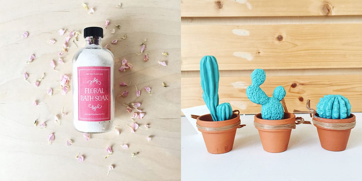 Floral soaks and succulent soaps at Homespun: Modern Handmade