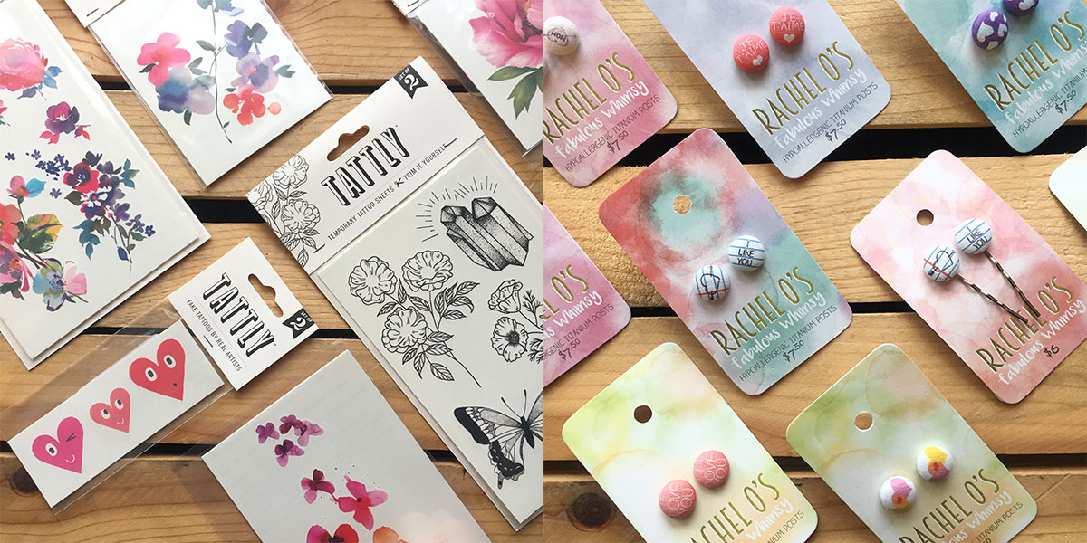 Tattly temporary tattoos and Rachel O's hairpins and earrings at Homespun: Modern Handmade