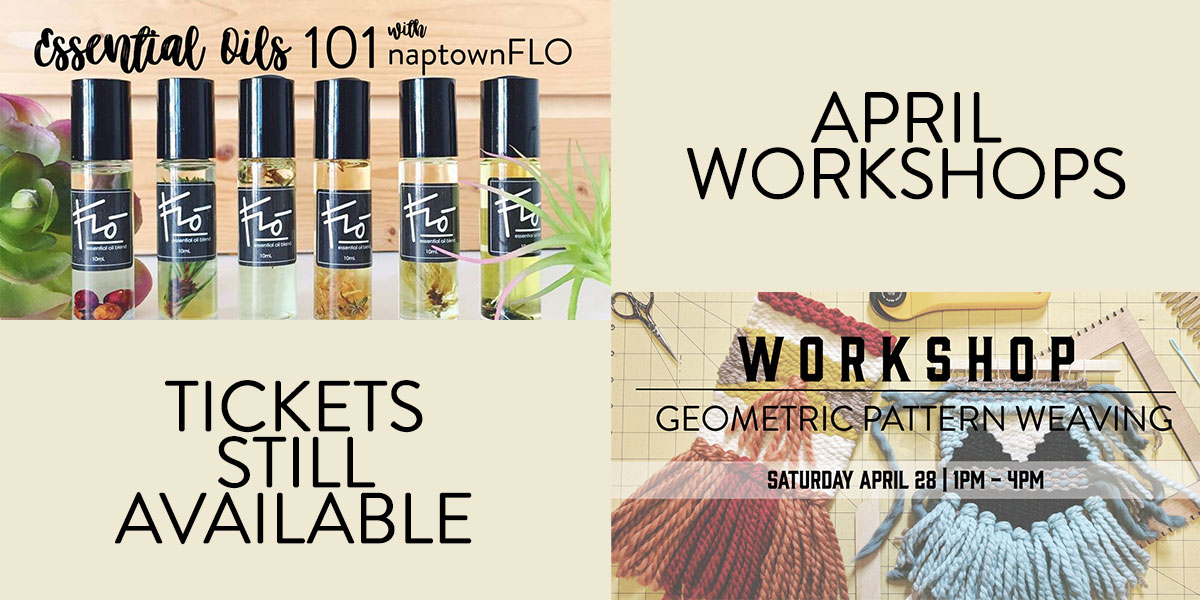 Essential Oils 101 Workshop and Geometric Pattern Weaving Workshop at Homespun: Modern Handmade in April
