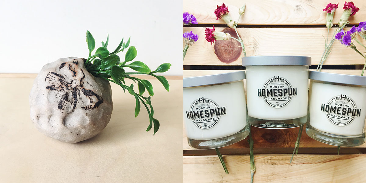 ICYMI April 20 New Homespun scented candles from The Onyx Exchange and handcrafted ceramic bud vases from Linnea Campbell Ceramics