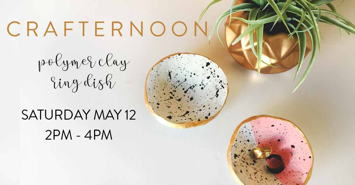 Make polymer clay ring dishes with Homespun Modern Handmade on Saturday May 12!