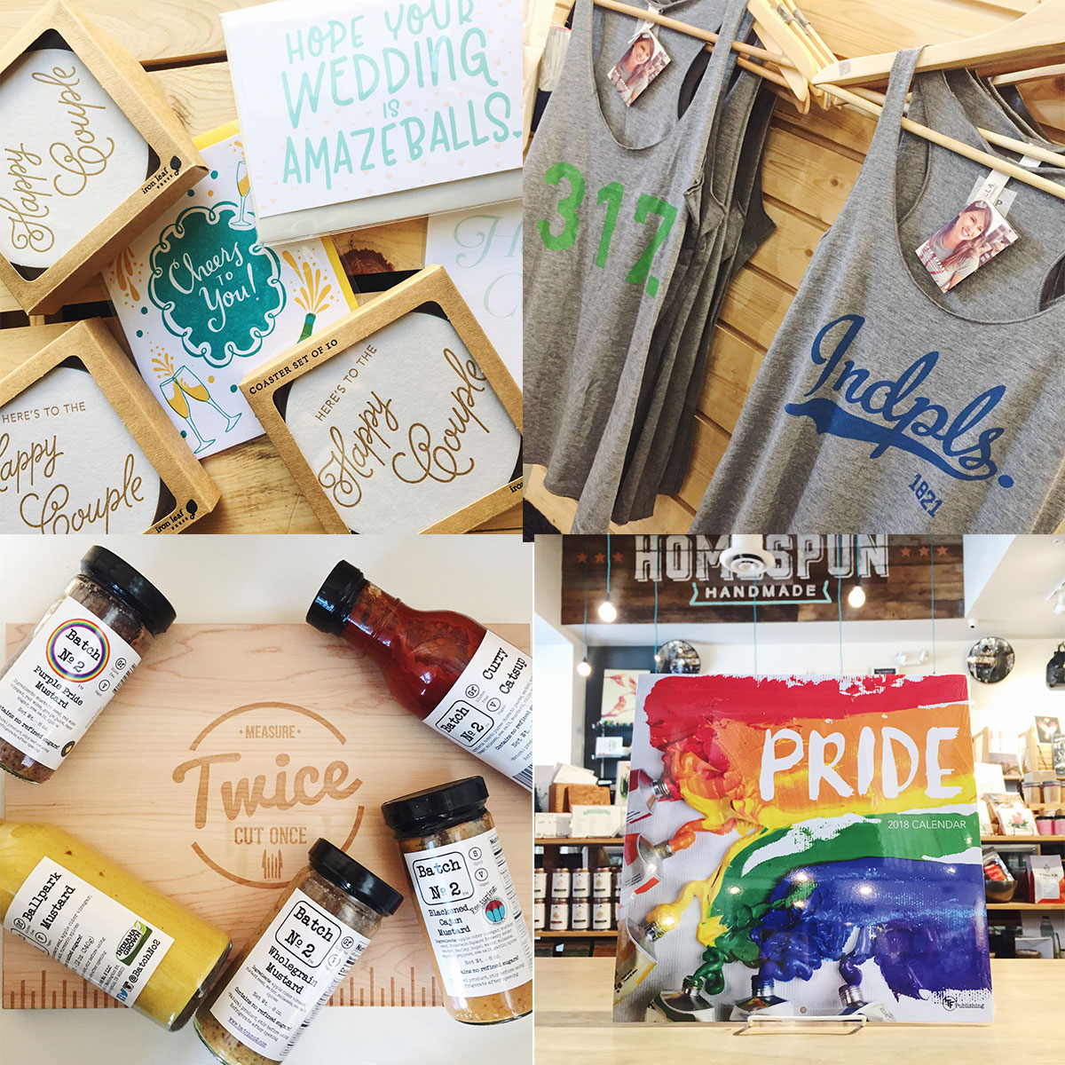 Wedding gifts, summer tees, and grilling supplies at Homespun: Modern Handmade