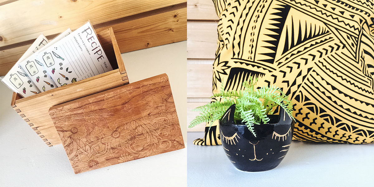 Recipe cards and boxes, and home decor at Homespun: Modern Handmade