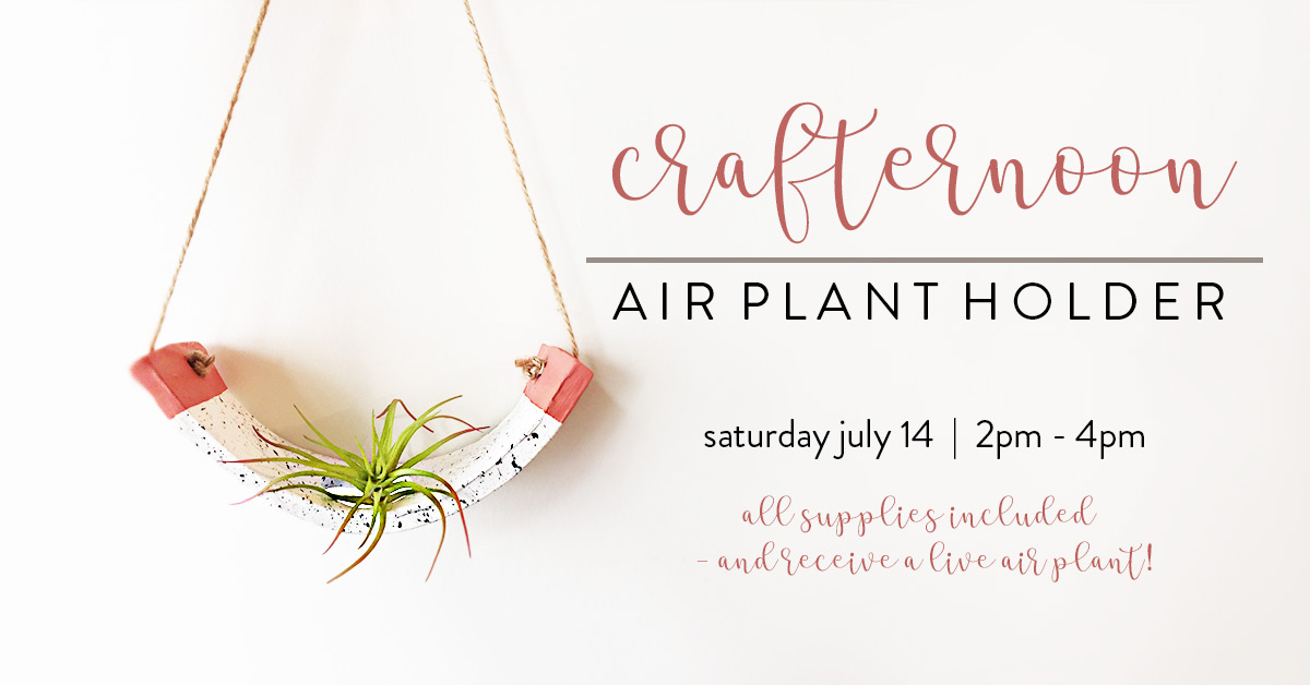 ICYMI June 8 Crafternoon: Air Plant Holder at Homespun: Modern Handmade on Saturday July 14 2pm - 4pm, tickets on eventbrite