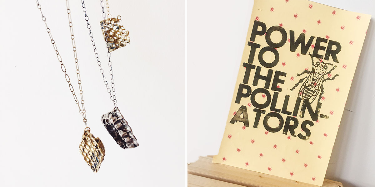 Honeycomb necklaces and pollinator print at Homespun Modern handmade