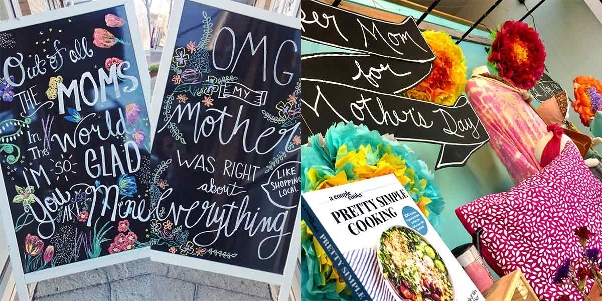 ICYMI May 4 Blog: Mother's Day chalkboard and window display at Homespun: Modern Handmade