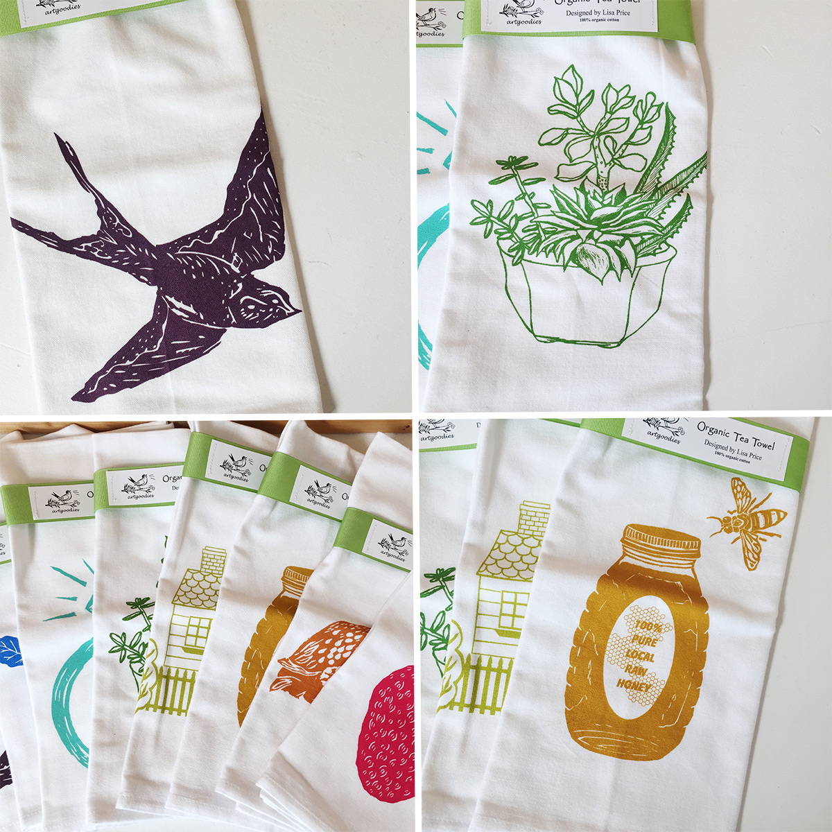 ICYMI June 8 organic tea towels from Art Goodies at Homespun