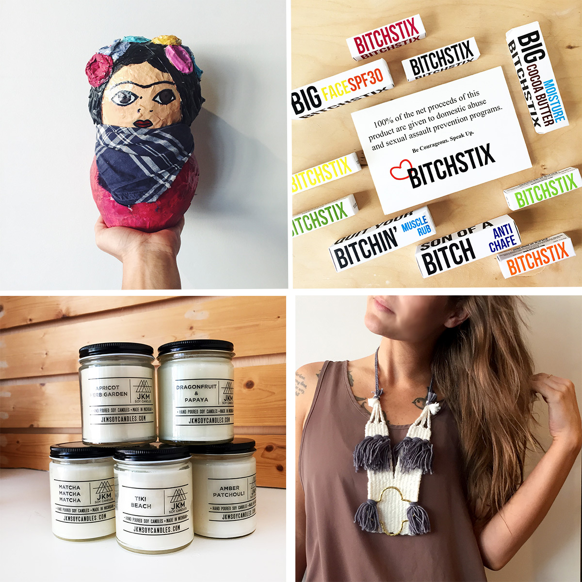 ICYMI June 8 Frida sculptures, Bitchstix lip balm and JKM Soy Candles restock, and new woven necklaces at Homespun: Modern Handmade