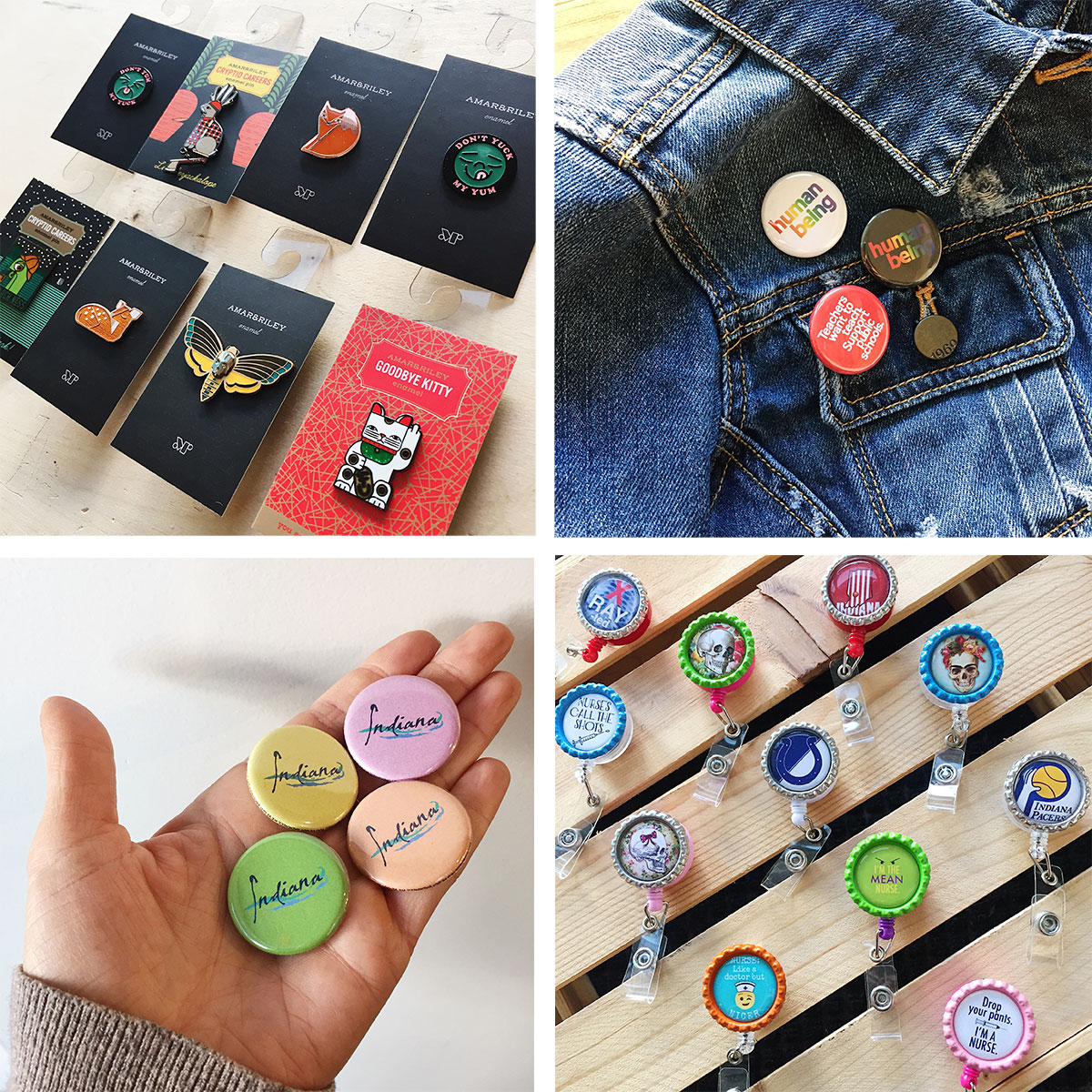 ICYMI October 26 Homespun Indianapolis buttons, pins, and badge clips